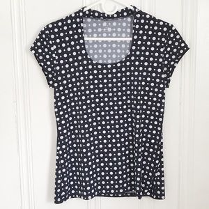 Grace Black and White Fitted Polka Dot Top M
